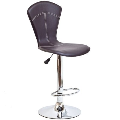 Erica Adjustable Height Swivel Bar Stool Upholstery: Brown