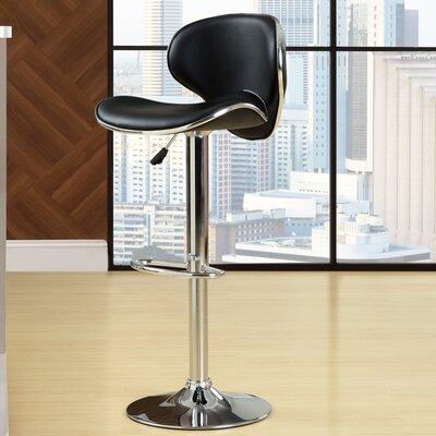 Anaheid Adjustable Height Swivel Bar Stool Upholstery: Black