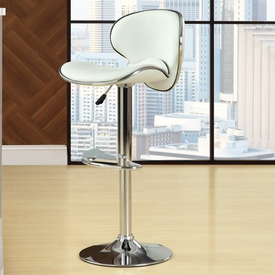 Anaheid Adjustable Height Swivel Bar Stool Upholstery: White