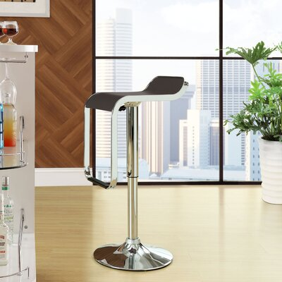 Wilton Adjustable Height Swivel Bar Stool Upholstery: Brown