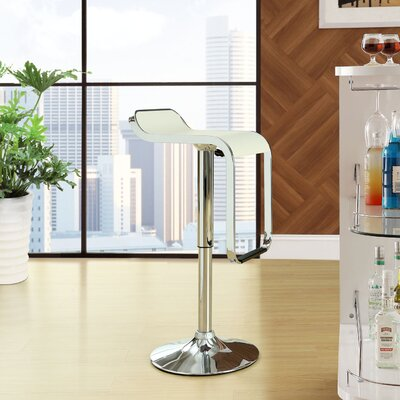 Wilton Adjustable Height Swivel Bar Stool Upholstery: White