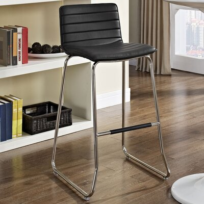 Troy 30.5 inch Bar Stool Upholstery: Black