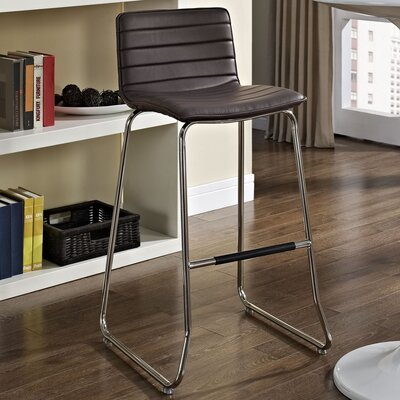 Troy 30.5 inch Bar Stool Upholstery: Brown