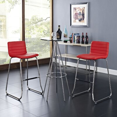 Troy 30.5 inch Bar Stool Upholstery: Red