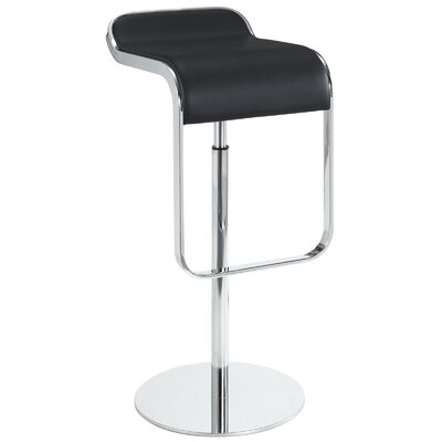 Wilton Adjustable Height Swivel Bar Stool Upholstery: Black