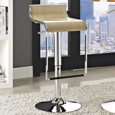 Wilton Adjustable Height Swivel Bar Stool Upholstery: Natural