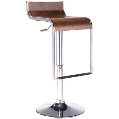 Wilton Adjustable Height Swivel Bar Stool Upholstery: Walnut