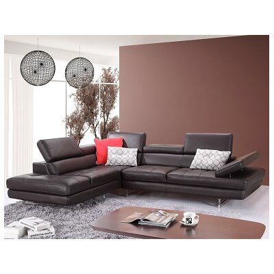 Hugo Leather Sectional Orientation: Right Hand Facing, Upholstery: Black