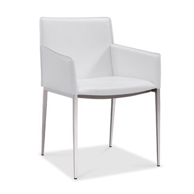 Baran Dining Arm Chair Upholstery: White