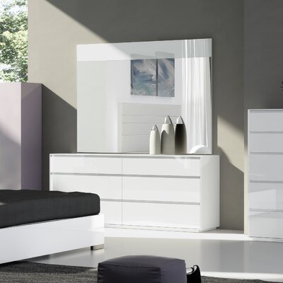 Lebanon 6 Drawer Double Dresser with Mirror