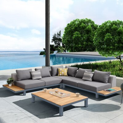 Corrine 4 Piece Sectional Seating Group with Cushion