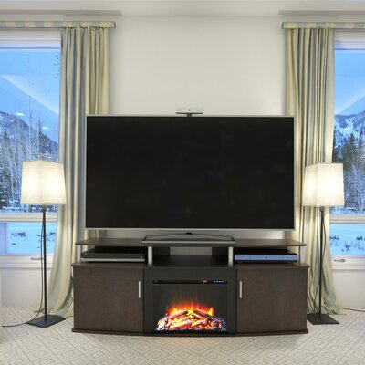 Elian TV Stand with Electric Fireplace Finish: Cherry / Black