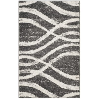 Ty Ivory/Gray Area Rug Rug Size: 26 x 4