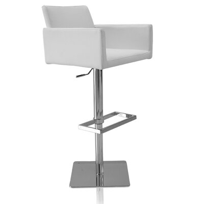 Elliott Adjustable Height Swivel Bar Stool Color: White