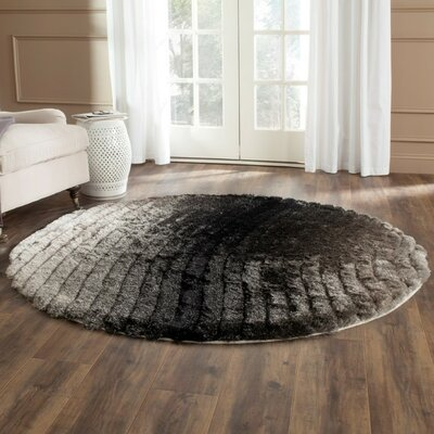 Anna Shag Hand-Tufted Silver/Gray Area Rug Rug Size: Round 6