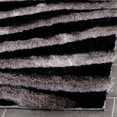 Anna Black/Grey Area Rug Rug Size: 36 x 56