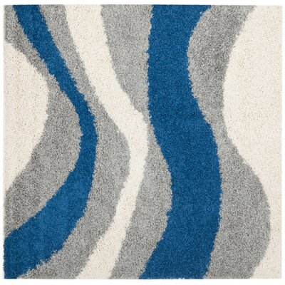 Swanson Gray/Blue Area Rug Rug Size: Square 5