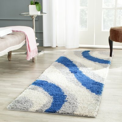 Swanson Machine Woven Grey/Blue Area Rug Rug Size: 3 x 5