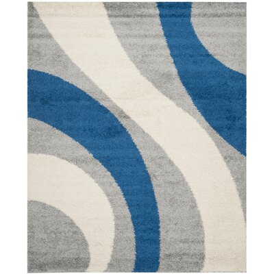 Swanson Machine Woven Grey/Blue Area Rug Rug Size: Rectangle 8 x 10