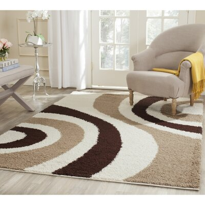 Anna Ivory/Brown Contemporary Area Rug Rug Size: 4 x 6