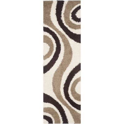 Swanson Ivory/Brown Contemporary Area Rug Rug Size: Runner 23 x 7