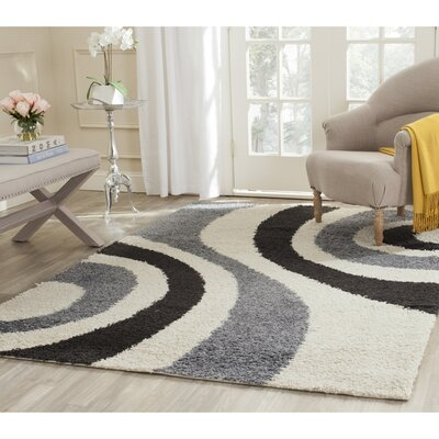 Swanson Ivory & Grey Contemporary Area Rug Rug Size: Rectangle 4 x 6