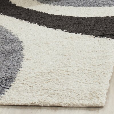 Anna Ivory & Grey Contemporary Area Rug Rug Size: 53 x 76