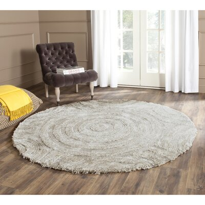 Swanson Silver Contemporary Rug Rug Size: Round 6
