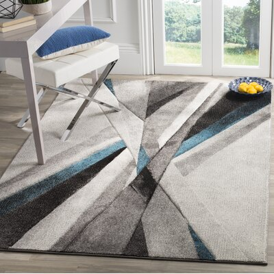 Anne Abstract Gray/Teal Area Rug Rug Size: 4 x 6