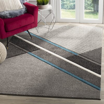 Anne Power Loomed Gray/Teal Area Rug Rug Size: Round 67 x 67