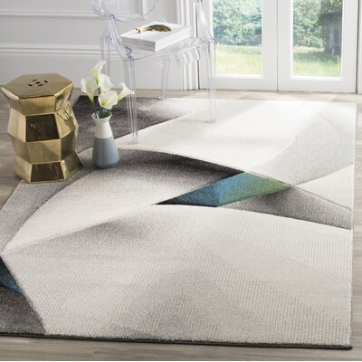 Anne Abstract Power Loomed Gray/Teal Area Rug Rug Size: Round 67