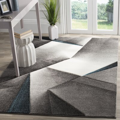 Anne Tukish Gray/Teal Area Rug Rug Size: Rectangle 53 x 76
