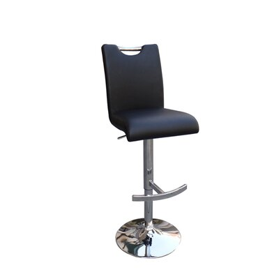 Cole Adjustable Height Swivel Bar Stool Upholstery: Black