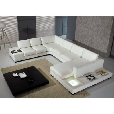 Alana Leather Sectional Sofa Upholstery: White
