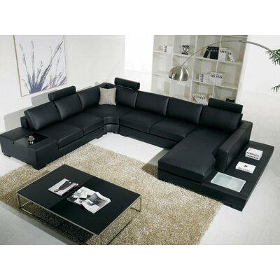 Cork Leather Sectional Sofa Upholstery: Black