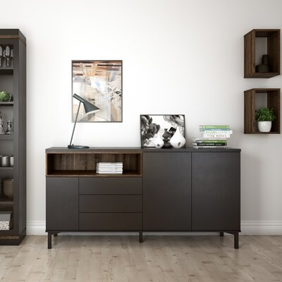 Boggess Sideboard Color: Black/Walnut