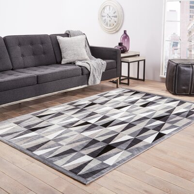 Elvis Machine-Woven Chenille Frost Gray Area Rug Rug Size: 26 X 8