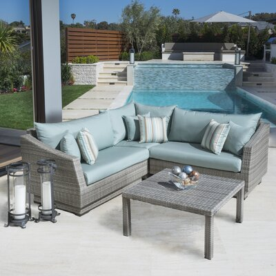 Alfonso Corner 4 Piece Sectional Seating Group with Cushions Fabric: Bliss Blue