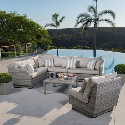 Alfonso Corner 6 Piece Sectional Seating Group with Cushions Fabric: Slate Grey