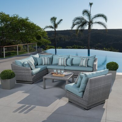 Alfonso Corner 6 Piece Sectional Seating Group with Cushions Fabric: Bliss Blue