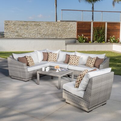 Alfonso Corner 6 Piece Sectional Seating Group with Cushions Fabric: Moroccan Cream