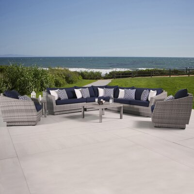 Alfonso 9 Piece Seating Group with Cushions Fabric: Navy