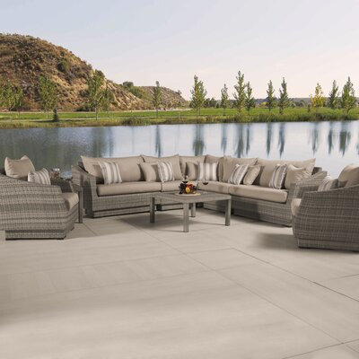 Alfonso 9 Piece Seating Group with Cushions Fabric: Slate Grey