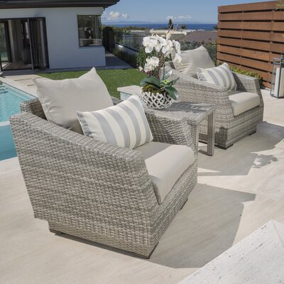 Alfonso 3 Piece Deep Seating Group with Cushion Fabric: Slate Gray