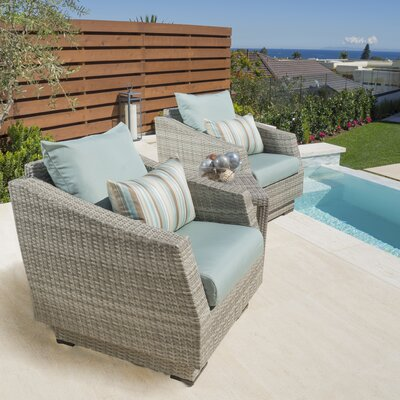 Alfonso 3 Piece Deep Seating Group with Cushion Fabric: Bliss Blue