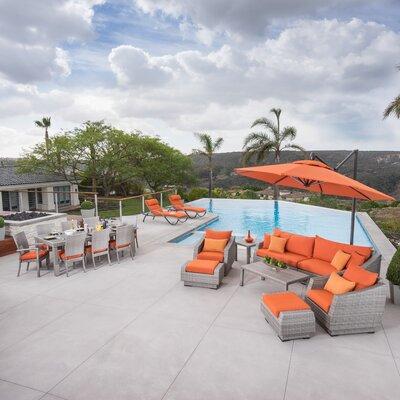 Alfonso Estate Patio 20 Piece Deep Seating Group with Cushion Fabric: Tika Orange