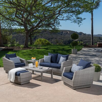 Alfonso Love and Club 6 Piece Deep Seating Group with Cushion Fabric: Navy