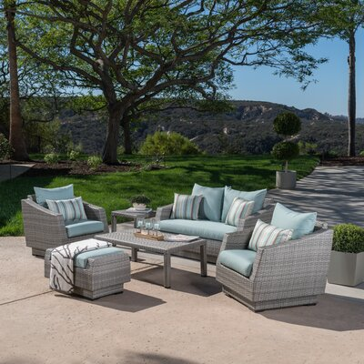 Alfonso Love and Club 6 Piece Deep Seating Group with Cushion Fabric: Bliss Blue