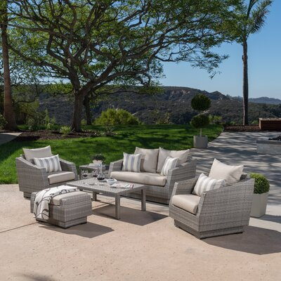 Alfonso Love and Club 6 Piece Deep Seating Group with Cushion Fabric: Slate Grey