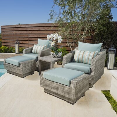 Alfonso 5 Piece Seating Group with Cushions Fabric: Bliss Blue